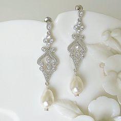 cb196de1e AMELIA Art Deco Bridal Earrings Silver Chandelier, Bridal Necklace, Bridal  Jewelry, Art Deco