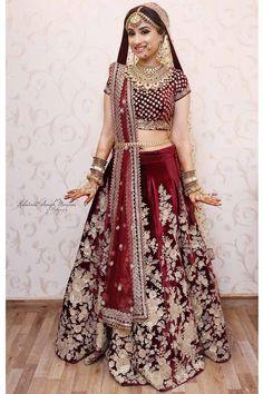 Exclusive Heavy Designer Maroon Color Floral Designer Bridal Lehenga Choli Call/ WhatsApp for Purchase or inquiry : suit Wedding Lehnga, Indian Bridal Lehenga, Indian Bridal Outfits, Indian Bridal Wear, Indian Dresses, Bridal Dresses, Wedding Wear, Desi Wedding, Wedding Bridesmaids
