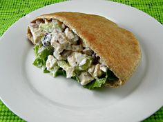 Clean Eating Chicken Salad so good! I added half a green apple, used 1/2 a cucumber rather than celery and only one chicken breast (bc what i had was really big)