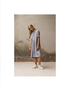 Blue and white striped shirt dress  Pluto - On the Moon