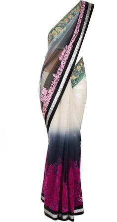 Varun Bahl presents Ivory and black ombre sari available only at Pernia's Pop-Up Shop. Lakme Fashion Week, India Fashion, Asian Fashion, Indian Attire, Indian Wear, Indian Style, Indian Dresses, Indian Outfits, Saris