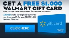 Chance for $1000 Walmart Giftcard