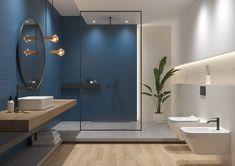 Odpowiednie połącznie barw może całkowicie odmienić naszą łazienkę i nadać jej niepowtarzalnego, indywidualnego charakteru. Sprawi, że pomieszczenie nabierze odpowiednich proporcji lub będzie wydawało się większe. Starannie dobrana paleta kolorystyczna dostępna w kolekcji ZAMBEZI doda naszemu wnętrzu szyku, łącząc oryginalność z funkcjonalnością. Bathroom Design Inspiration, Bad Inspiration, Masculine Bathroom, Design Bleu, Bathroom Design Luxury, Shower Tub, Wall Tiles, House Design, Home