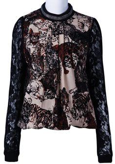 Khaki Long Sleeve Metal Embellished Lace Blouse