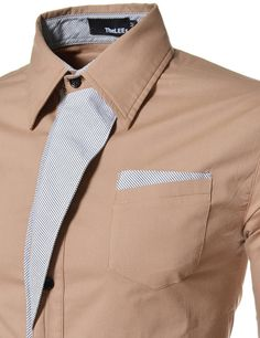 (N320) TheLees Mens Casual Long Sleeve Stripe Patched Fitted Dress Shirts BEIGE US XXS(Tag size M)