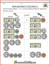 money math worksheets who has most to 2 dollars 1 Division Activities, 2nd Grade Activities, 3rd Grade Math Worksheets, Life Skills Activities, Math Workbook, Phonics Worksheets, Third Grade Math, School Worksheets, Number Worksheets