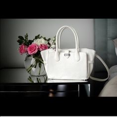 """Snob Essentials Aliza Tote Brand new Snob Essentials white Aliza tote. Beautiful bag, measurements are below! Approx 10""""L x 2 7/8""""W x 8""""H with a 5 1/2""""L handle drop and a removeable, adjustable cross body strap. Snob Essentials Bags Totes"""