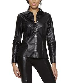 Look what I found on #zulily! Black Faux Leather Snap-Up Top #zulilyfinds
