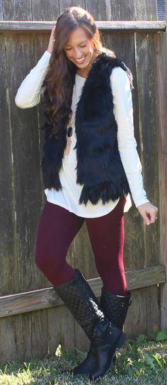 Faux Fur Vest - Black #ShopMCE