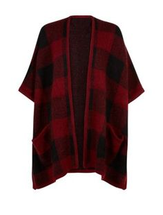 Red Check Blanket Cardigan  | New Look