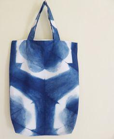 Shibori tote bags hand-dyed natural indigo 100% by TextileBlue