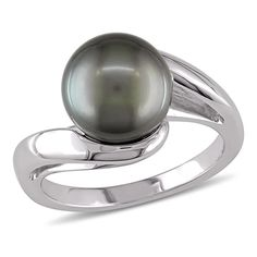8.5-9mm Black Tahitian Pearl Fashion Ring in 10K White Gold