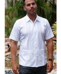 Mens Embroidered Linen italia Guayabera. Slim Fitting