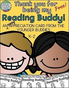 Reading Buddy Thank you card - FREE! These print, fold and go Reading Buddy Cards are a quick and easy way for younger students to show their Reading Buddies appreciation at the end of year!