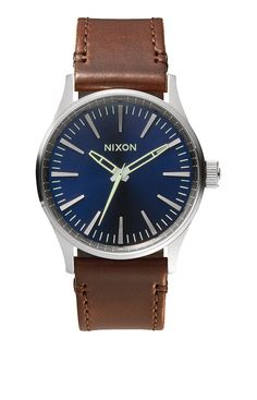 Sentry 38 Leather - Silver   Bright Coral   Natural   Nixon Neo Preen Nixon  Watches 973c7aac07ff