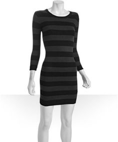 French Connection Charcoal & Black Striped Sweater Dress $76.00
