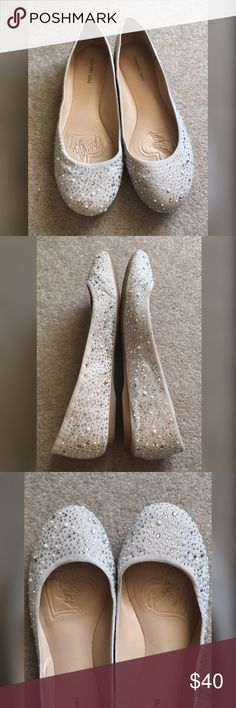 Gianni Bini sparkly flats size 9 I bought these at Dillard's for my wedding & only wore them through the ceremony & photos after (these were outside). They are in great condition!  They are Gianni Bini size 9. They're a stone/taupe color & have white beading + rhinestones.  I paid $65 + tax. Smoke free home. Gianni Bini Shoes Flats & Loafers