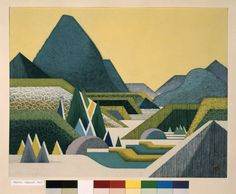 Maeda Toshiro (前田藤四郎) Yoroidake (Armour Peak) Colour linocut print. Landscape with mountains, hills and trees in geometric shapes. 3/20. Inscribed and sealed 1965 1972 (printed)