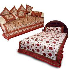 Jaipuri Double Bedsheet n Complete Dewan Set Combo 311