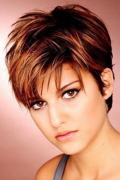 Short Straight Alternative Hairstyle Dark Brunette Burgundy Side On View