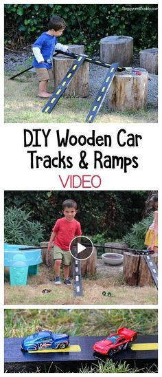 DIY Wooden Car Tracks and Ramps: Easy homemade toy for Hot Wheels and other toy cars. Perfect for outside play in the backyard or at school! Kids can make all kinds of tracks and formations. ~ BuggyandBuddy.com