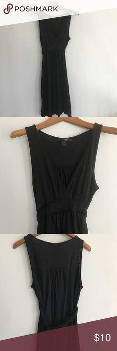 Black stretch dress Knit stretch dress with empire waist tie. Perfect for bathing suit cover up or light summer dress. Forever 21 Swim Coverups