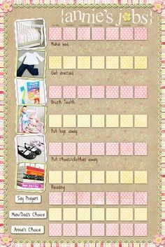 Daily Task Chart. I love love this! Can't wait to make one for my lil' girl! <3
