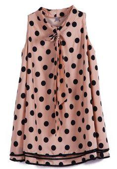 Pink Sleeveless Polka Dot Bow Chiffon Dress - Sheinside.com