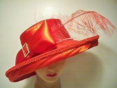 Hat - RED Wide Brim Kentucky Derby w/RHINESTONE Band FEATHER  Society Church NEW