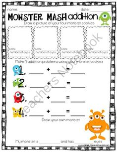 Monster Mash Addition from Simply Sprout on TeachersNotebook.com (1 page)
