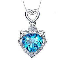 ed4f26424ee7e Aiblii Collier Pendentif de Bijoux en Cristal Swarovski Bleu pour Les  Femmes Lady Girl Cadeau de