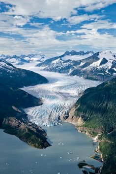 Mendenhall Valley, Alaska | A prominent fixture in Alaskan landscape, the Mendenhall Glacier spans roughly 14 miles in total length.