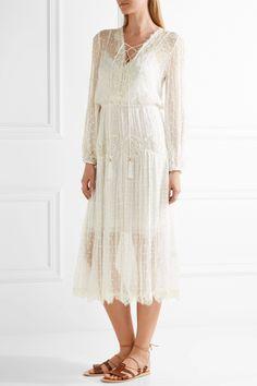 Zimmermann | Oleander lace-trimmed Swiss-dot silk-georgette midi dress | NET-A-PORTER.COM
