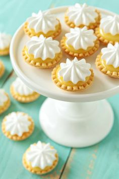 mini lemon meringue pies - she made hers with pre-made pie crusts, but I have a mini-tart pan I can use with home-made shells. mini lemon meringue pies - she made hers with pre-made pie crusts, but I have a mini-tart pan I can use with home-made shells. Mini Desserts, Lemon Desserts, Just Desserts, Christmas Desserts, Tea Party Desserts, Mini Dessert Recipes, Baking Desserts, Apple Desserts, Health Desserts