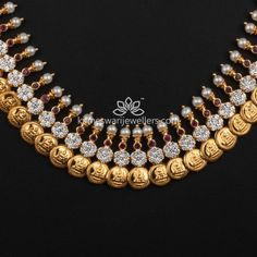 Buy Necklaces Online | Kasu Pearl Mala with pressure setting Czs from Kameswari Jewellers Gold Jewellery Design, Gold Jewelry, Gold Necklace, Bridal Necklace, Stone Necklace, Pearl Jewelry, Jewelery, Beaded Necklace, Necklaces