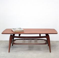Louis van Teeffelen; Teak and Cane Coffee Table for Webe, 1950s.