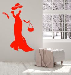 Vinyl Wall Decal Woman Dress Accessories Fashion Bag Mademoiselle Gloves Stickers (1510ig)