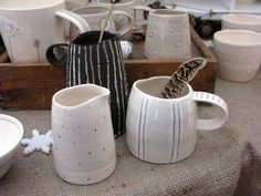Small handthrown jugs by Jenny Murray