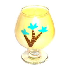 Brandy Snifter Container Candle Palm Trees by WoodcraftsandCandles (Home & Living, Home Décor, Candles & Holders, Candles, Container Candles, brandy snifter, brandy glass candle, handpainted glass, fruit candle, palm tree design, hand painted glass, tropical candle, palm tree candle, yellow glass candle, palm tree, art glass candle, mango papaya candle, handmade)