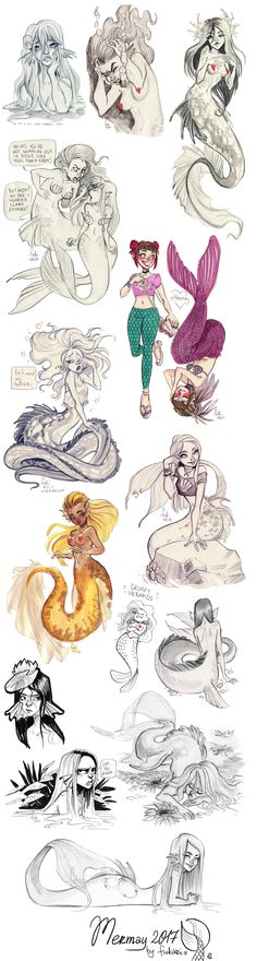 mermay 2017 by Fukari - these are like my nixies Mermaid Drawings, Mermaid Art, Art Drawings, Mermaid Pose, Character Inspiration, Character Art, Character Design, Poses References, Mermaids And Mermen
