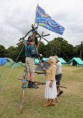 Camilla Duchess of Cornwall meets Scouts as she visits the Poppy Pod Village at the Tile Barn Outdoor Centre on July 26 2016 in Brokenhurst England...