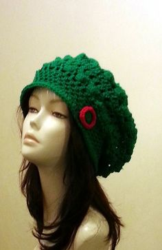 Crocheted Beret Hat  Slouch Hat   Crochet Green ♡ by jazzicrafts