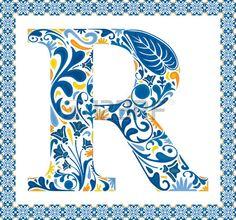 Blue floral capital letter R in frame made of Portuguese tiles
