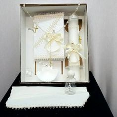 Check out this item in my Etsy shop https://www.etsy.com/listing/471660199/christeningbaptism-candle-gift-set-ivory
