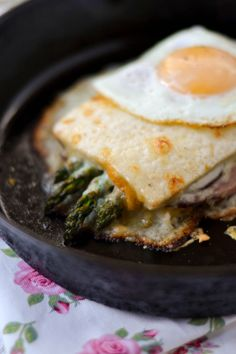 Croque-Madame with Roasted Asparagus~ breakfast, lunch, or dinner... yummy ANY time of day