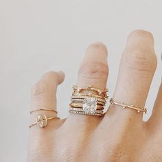 We love seeing stacks alongside your engagement rings / set that diamond off with delicate and dainty designs and don't be afraid to mix your metals like this.