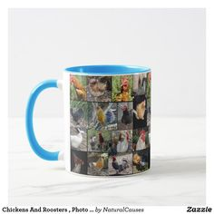 Chickens And Roosters , Photo Collage Coffee Mug