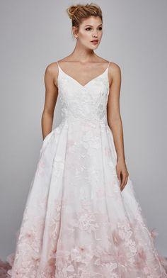 'Willow' Fall 2017 #KellyFaetanini v-neck pink ombre wedding dress with blush petals http://www.kellyfaetanini.com