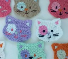 BLOW UP Deal 20% off 4 Crochet Cat Face Appliques 8 by Qspring