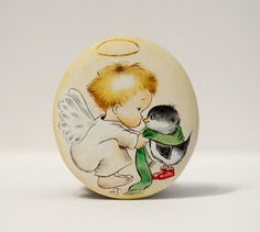 Painted stone, sasso dipinto a mano. Vintage angel